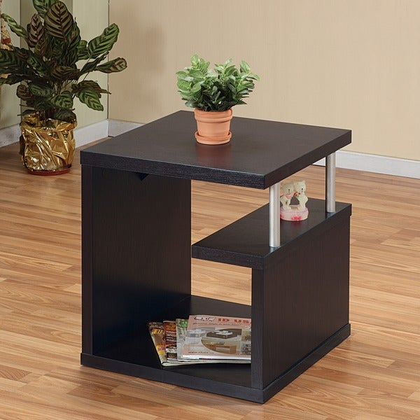 Furniture of america modern leveled end table free for Furniture of america architectural inspired dark espresso coffee table