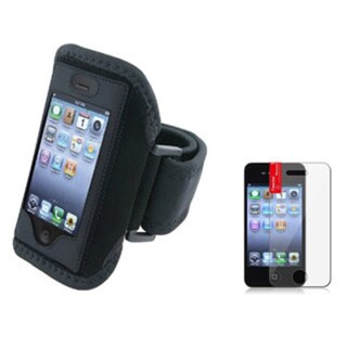 INSTEN Black Deluxe Armband with Screen Protector for Apple iPhone 4