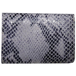 Leatherbay Grey Leather Snake Print Card Holder