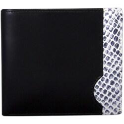 Leatherbay Black Leather Snake Print Bi-fold Wallet