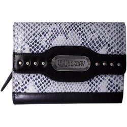 Leatherbay Grey Leather Snake Print Clutch
