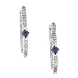 10k White Gold Sapphire and 1/8ct TDW Diamond Hoop Earrings (J-K, I2-I3)