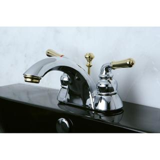 twotone chrome and brass bathroom faucet