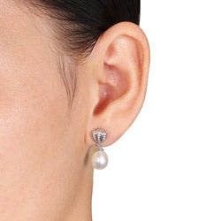 Miadora Sterling Silver Pearl and Diamonds Accent Earrings (8-8.5 mm)