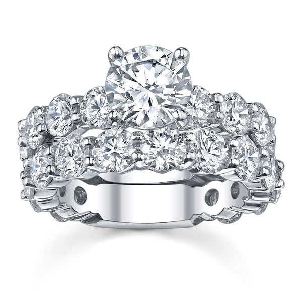 18k White Gold 7 3/4ct TDW Diamond Bridal Ring Set