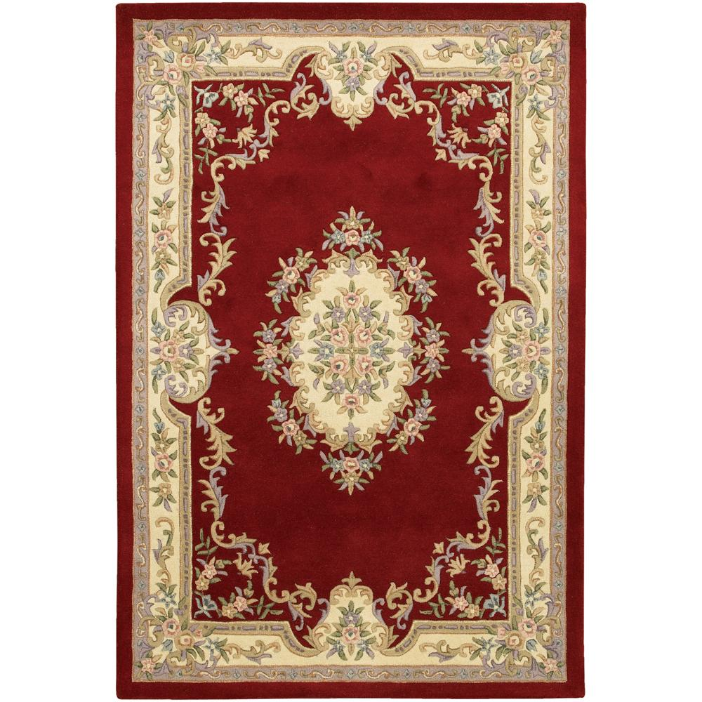 Hand Tufted Traditional Oriental Red Wool Rug With Non: Hand-tufted Mandara Oriental Red Wool Rug (7'9 X 10'6