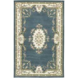 Hand-tufted Mandara Oriental Blue Wool Rug (7'9 x 10'6)