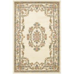 Hand-tufted Mandara Oriental Ivory Wool Rug (7'9 x 10'6)