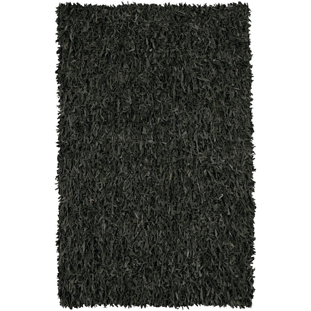 Hand-woven Mandara Black Leather Shag Rug (3' Round) - 3' x 3'