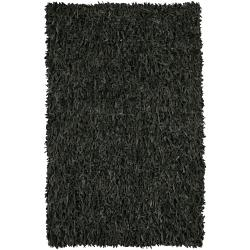 Hand-woven Mandara Black Leather Shag Rug (3' Round) - Thumbnail 1