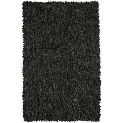 Hand-woven Mandara Black Leather Shag Rug (3' Round) - Thumbnail 2