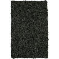 Artist's Loom Hand-woven Natural Eco-friendly Leather Shag Rug - 4'9