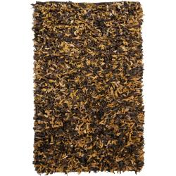 Artist's Loom Hand-woven Natural Eco-friendly Leather Shag Rug (2'x6')