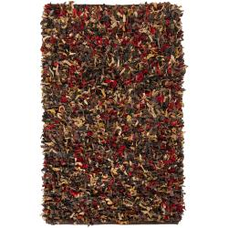 Hand-woven Mandara Multi-color Leather Shag Rug (2' x 6')