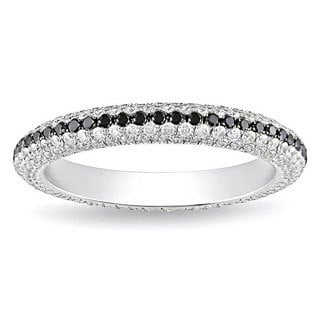 Miadora Signature Collection 18k White Gold 1 1/4ct Black and White Pave Eternity Diamond Ring
