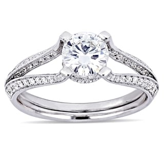Miadora 18k White Gold 1 3/8ct TDW Certified Diamond Ring
