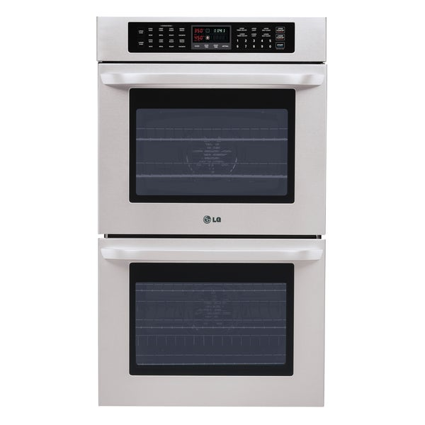 LG 30-inch Stainless Steel Double Wall Oven with Blue Interior