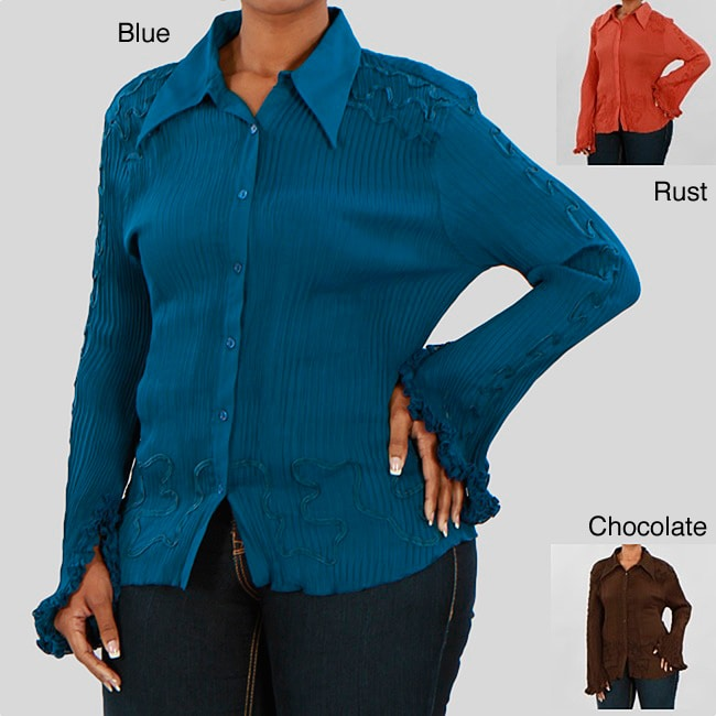 Kaelyn Max Women's Plus Size Long-sleeve Buttoned Blouse