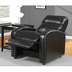 Tracy Black Bonded Leather Recliner - Thumbnail 1