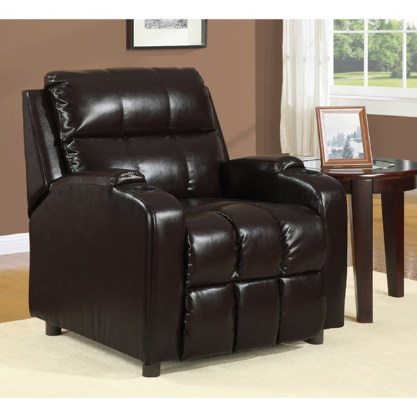 Hoffman Chestnut Bonded Leather Recliner   Free Shipping Today    Overstock.com   80002077