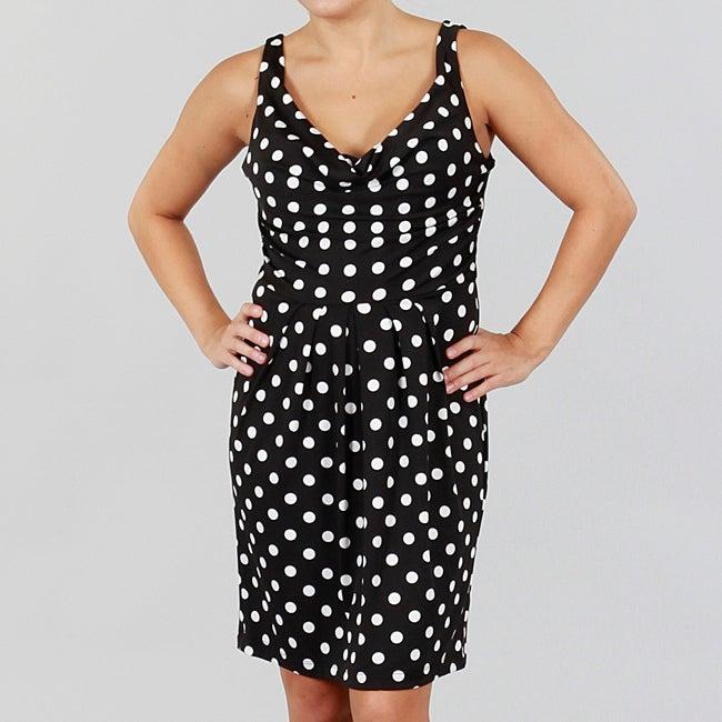 Wishes Juniors Polka Dot Cowl Neck Sleeveless Dress