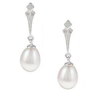 Kabella 14k Gold Freshwater Pearl and Diamond Accent Bridal Earrings (7-8 mm)