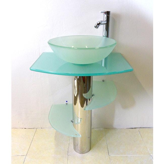 Kokols Bathroom Vanity Pedestal And Frosted Glass Vessel