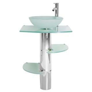 Sale kokols bathroom vanity pedestal and frosted glass - Bathroom vanity with vessel sink sale ...