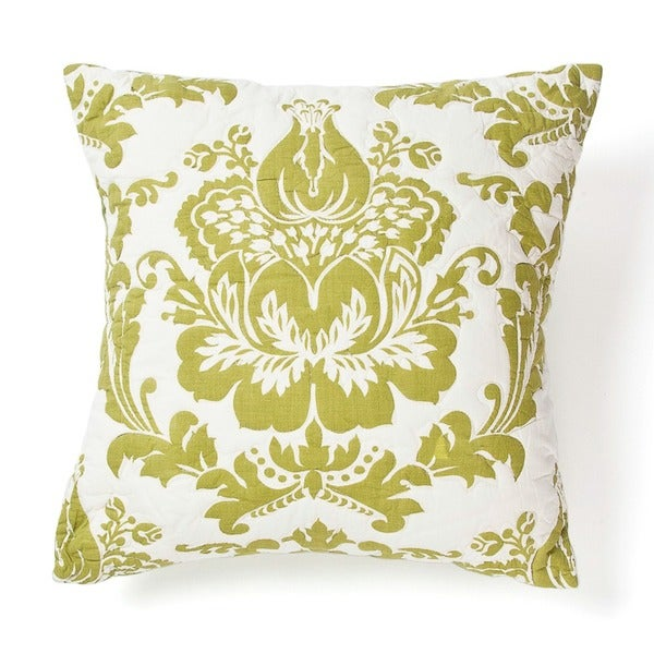 Cottage Home Damask Green Cotton 16 Inch Throw Pillow
