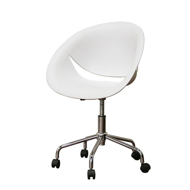 justina white molded plastic modern swivel office chair - free