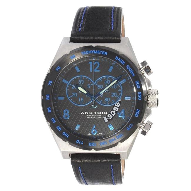 Android Men's Interceptor Swiss Quartz Chronograph Leather Strap Watch