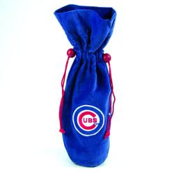 MLB Chicago Cubs 14-inch Velvet Wine Bottle Bag - Thumbnail 1