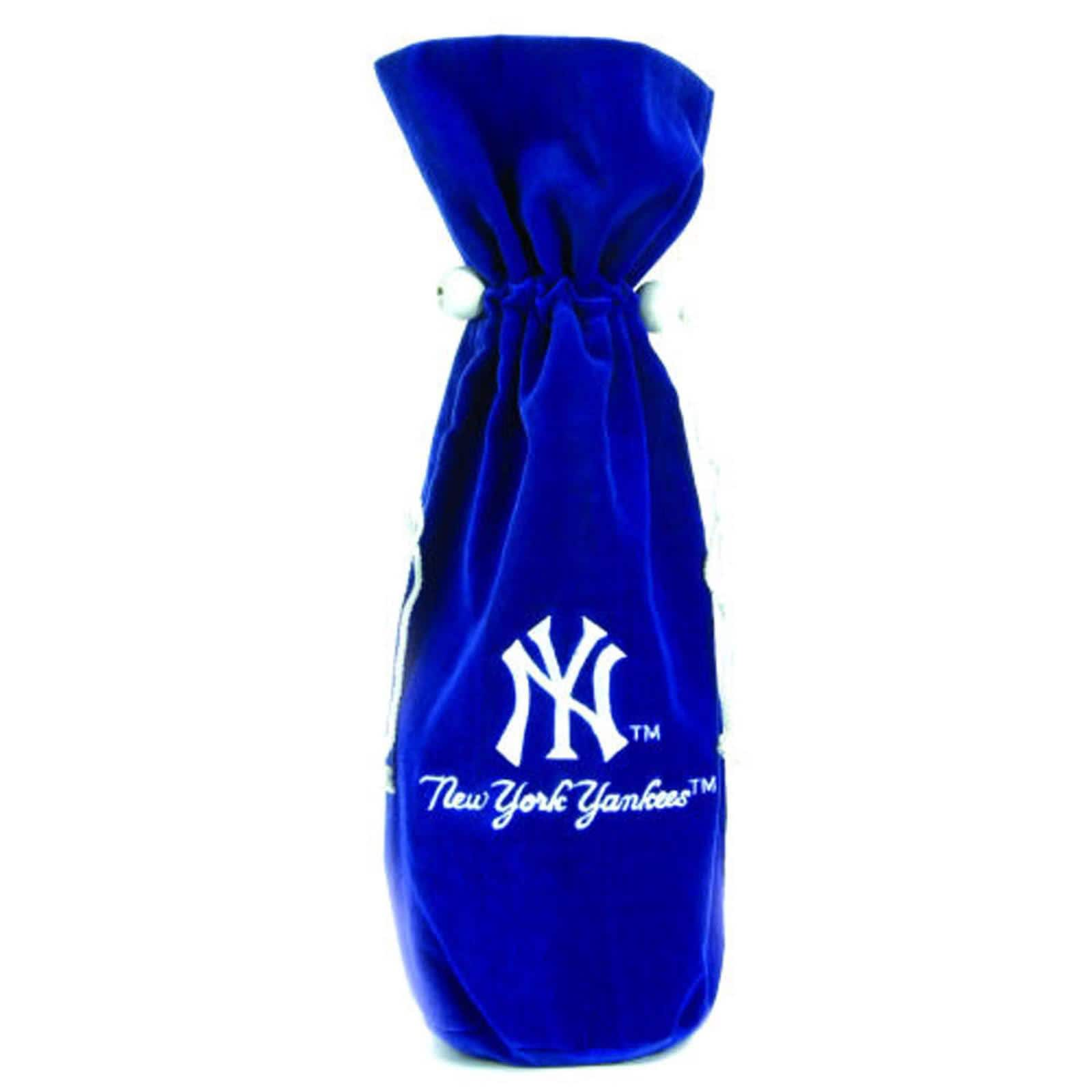 New York Yankees 14-inch Velvet Wine Bottle Bag - Thumbnail 0