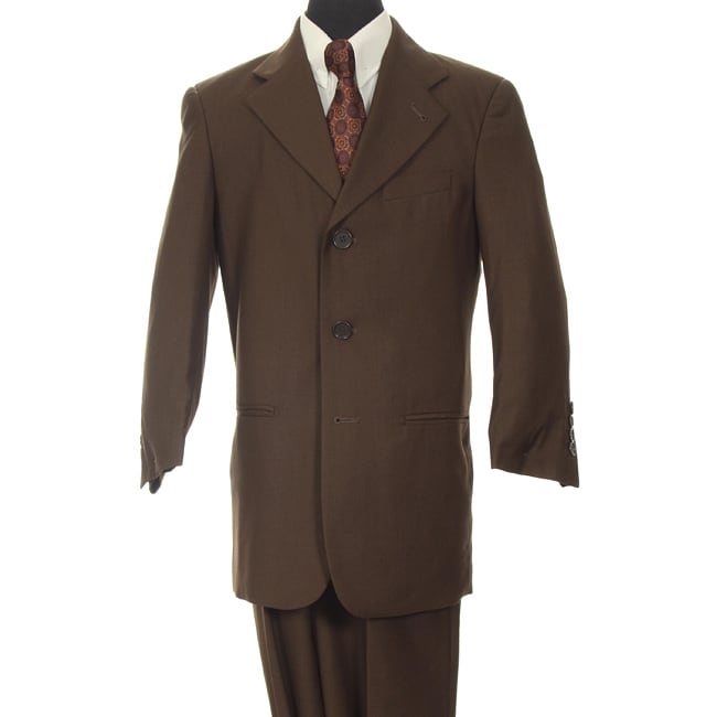 Ferrecci Boy's Dark Brown Three-button Two-piece Suit
