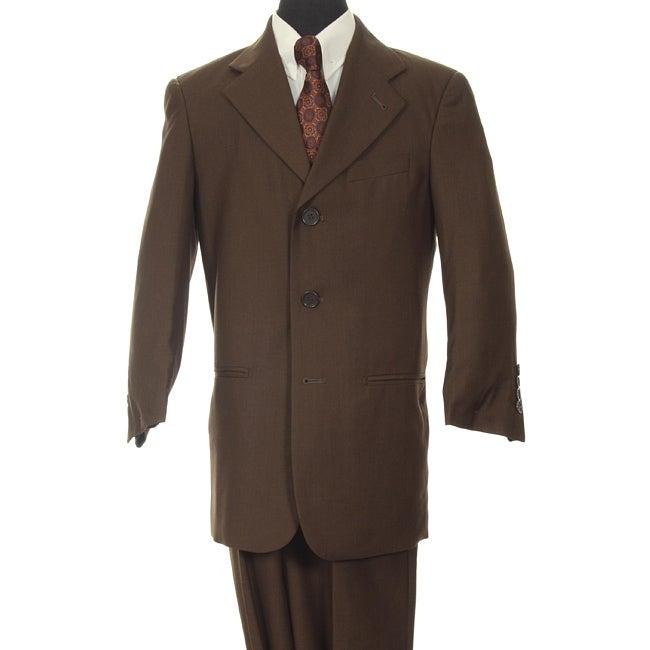 Ferrecci Boy's Dark Brown Three-button Two-piece Suit