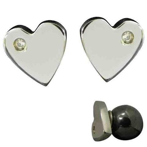 Magnetic Heart Cubic Zirconia Stainless Steel Earrings