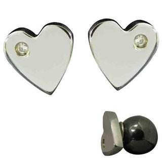 Magnetic Heart Cubic Zirconia Stainless Steel Earrings