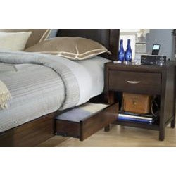 Cushioned Back King-size Wood Storage Bed - Thumbnail 1