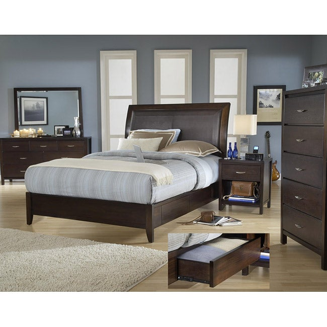 Cushioned Back Queen-size 4 Drawer Wood Storage Bed