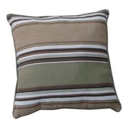 Brushed Twill Cotton Stripe Sage/ Khaki Throw Pillows (Set of 2)