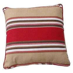 Brushed Twill Cotton Stripe Red/ Khaki Throw Pillows (Set of 2) - Thumbnail 0