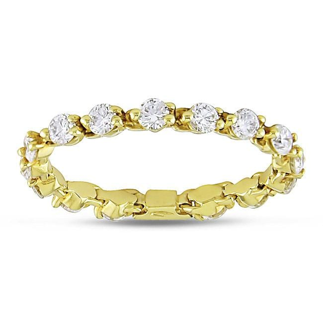 Miadora 18k Yellow Gold 7/8ct TDW Diamond Eternity Ring (G-H, SI1)