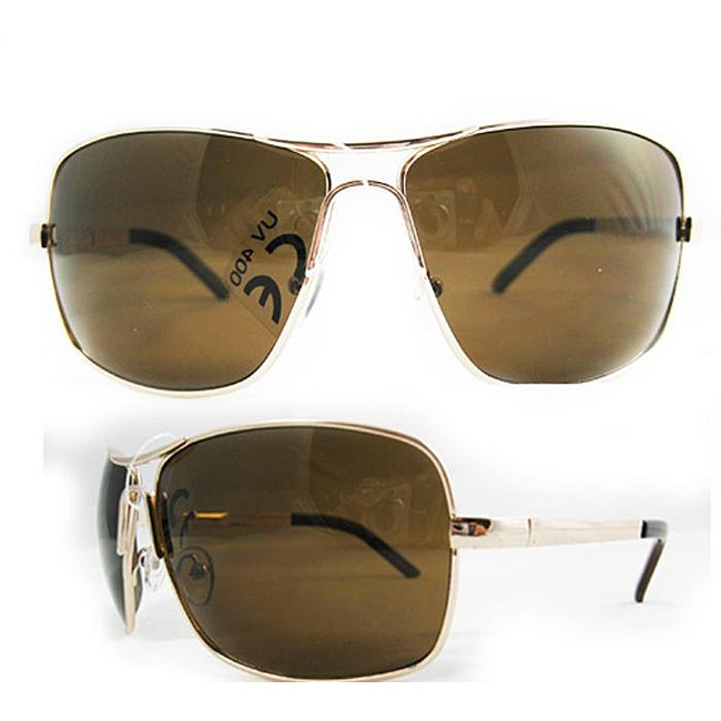 SWG Men's 5120 Gold and Brown Square Sunglasses - Thumbnail 0