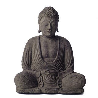 Volcanic Ash Buddha Lotus Antique Statue, Handmade in Indonesia