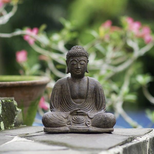 Volcanic Ash Buddha Lotus Antique Statue, Handmade in Indonesia
