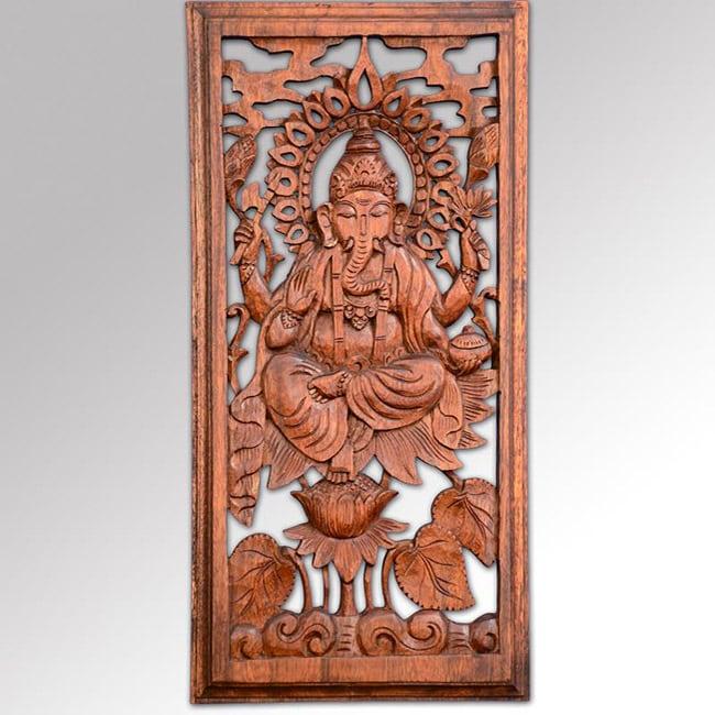 Suar Wood Ganesha Wall Plaque, Handmade in Indonesia