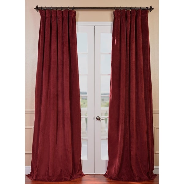 Exclusive Fabrics Signature Burgundy Velvet 84-inch Blackout Curtain Panel