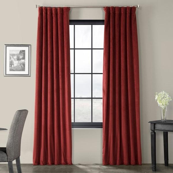 Exclusive Fabrics Signature Burgundy Velvet Blackout Curtain Panel. Opens flyout.