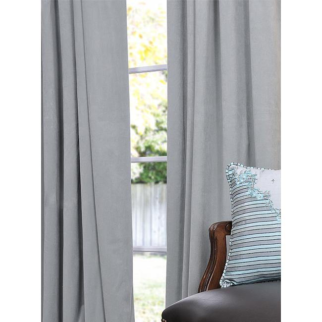 Exclusive Fabrics Signature Grey Blue Velvet 96-inch Blackout Curtain Panel