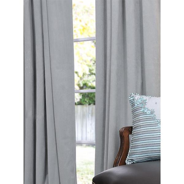 Exclusive Fabrics Signature Grey Blue Velvet 108-inch Blackout Curtain Panel